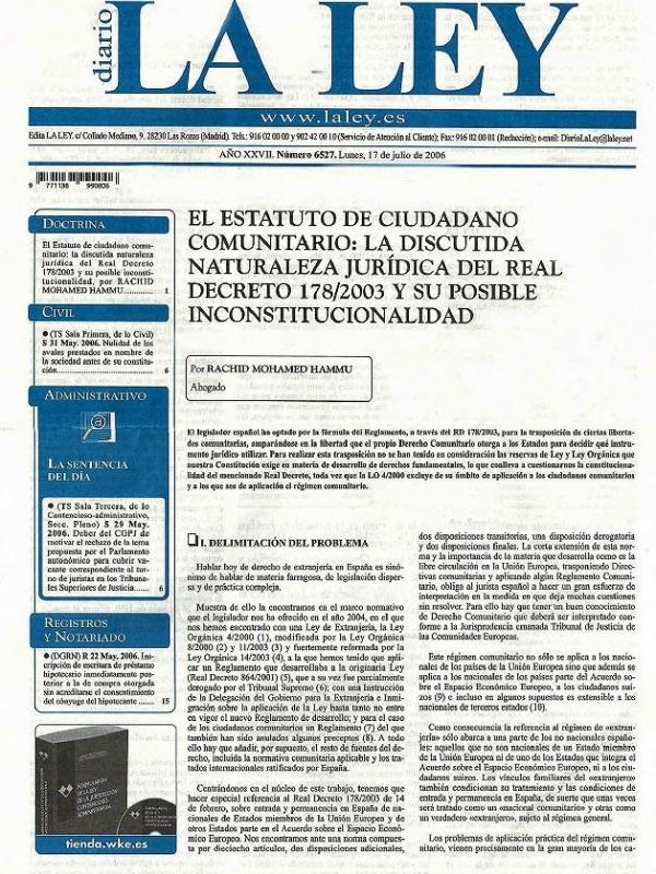 El estatuto de ciudadano comunitario: la discutida naturaleza jurídica del Real Decreto 178/2003 y su posible inconstitucionalidad