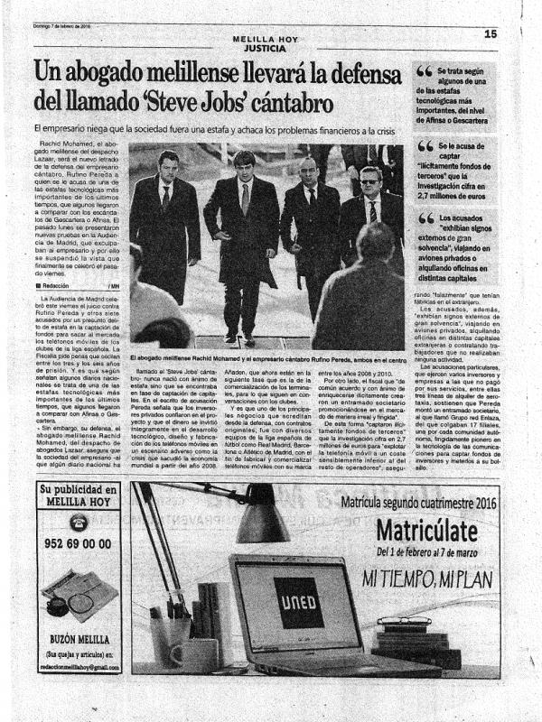 Un abogado melillense llevará la defensa del llamado 'Steve Jobs' cántabro