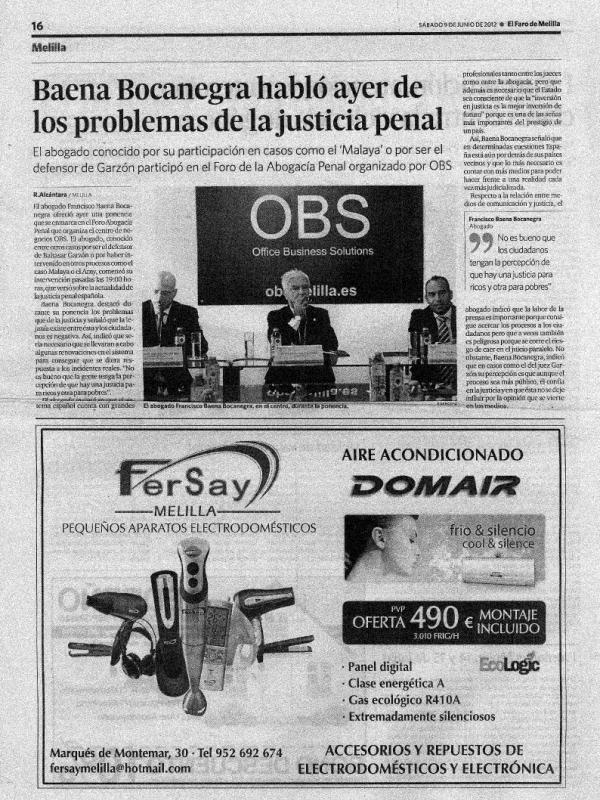 Baena Bocanegra habló ayer de los problemas de la justicia penal