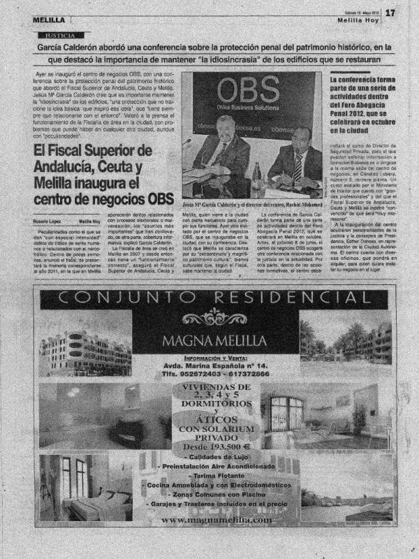 El Fiscal Superior de Andalucía, Ceuta y Melilla inaugura el centro de negocios OBS