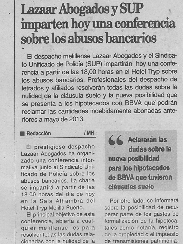 Nota de Prensa Conferencia SUP y Lazaar Abogados Melilla