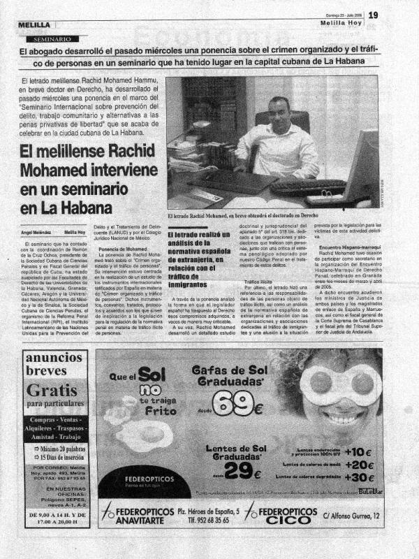 El melillense Rachid Mohamed interviene en un seminario en La Habana